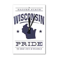 Wisconsin State Pride - Blue on White - LP Artwork (Acrylic Wall Clock) - acrylic wall clock