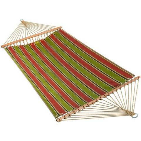 """82"""" x 55"""" Weather Resistant Green and Red Striped 2-Point Double Hammock"""
