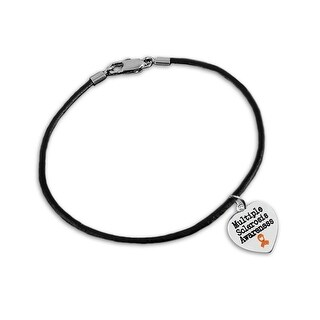 Multiple Sclerosis Awareness Heart Leather Cord Bracelets