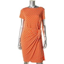 Jones New York Womens Polka Dot Wrap Wear to Work Dress - M