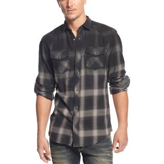 INC International Concepts Darkness Ombre Plaid Long Sleeve Shirt Black