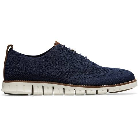 Cole Haan Mens Zerogrand StitchLite Oxfords Knit Breathable - Marine Blue/Ivory
