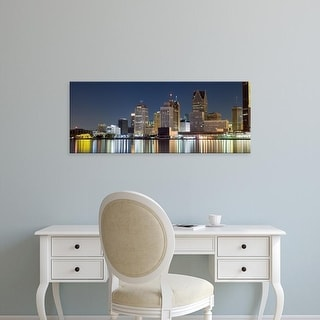Easy Art Prints Panoramic Image 'Buildings in a city lit up, Detroit River, Detroit, Michigan, USA' Canvas Art