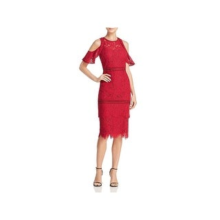Laundry by Shelli Segal Womens Cocktail Dress Cold Shoulder Lace