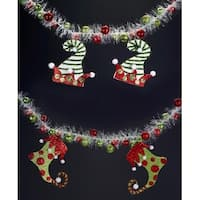 "Pack of 4 Elf Hats and Stockings Garlands 54"" - RED"