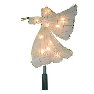 """9.5"""" Lighted Gold Angel Silhouette Christmas Tree Topper  Clear Lights - White"""