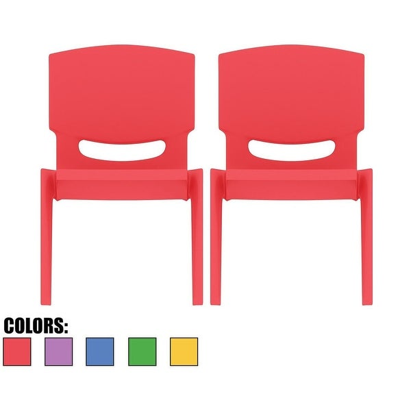 """2xhome -Set of 2 -Red - Kids Size Plastic Side 10"""" Seat Height Chairs"""