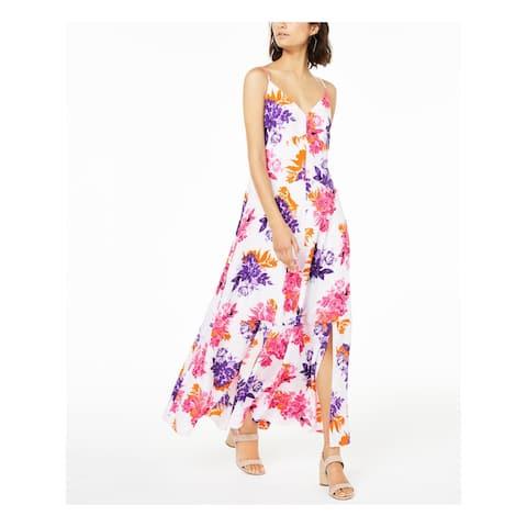 BAR III Womens White Floral Spaghetti Strap Maxi Shift Dress Size 4