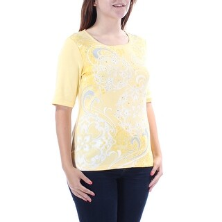Womens Yellow Floral Short Sleeve Jewel Neck T-Shirt Top Size S