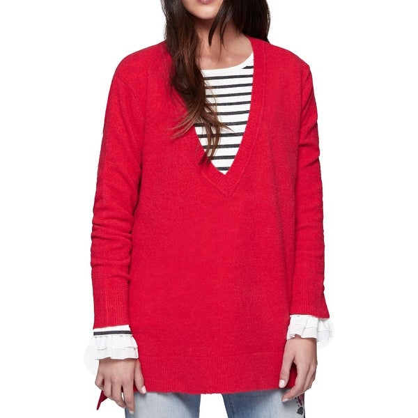 Sanctuary Red Womens Size Small S Hi-Low Tunic V-Neck Sweater