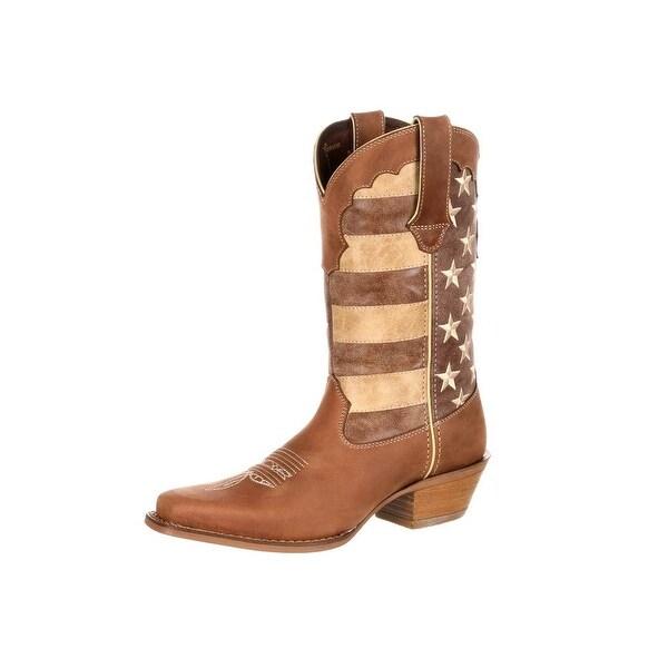 Durango Western Boots Womens Crush Distressed USA Flag Brown