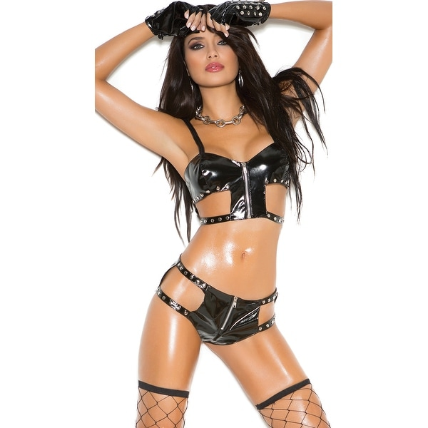 c0c8fcfbd3c0 Shop Studded Hottie Bra Top Set, Zip Up Bra And Panty - Black - Free  Shipping On Orders Over $45 - Overstock - 18101853