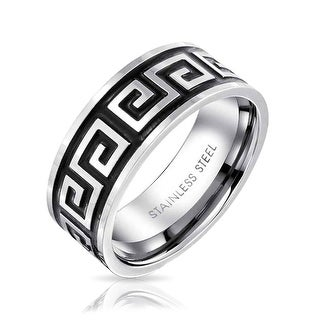 Bling Jewelry Greek Key Mens Stainless Steel Band Ring - Black