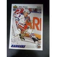 Signed Graves Adam New York Rangers 1991 Upper Deck Hockey Card autographed