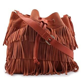 Vince Camuto Riqui Hobo Bag Women Suede Orange Hobo