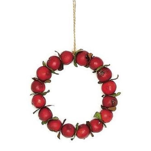 "Red Autumn Harvest Crabapple Christmas Wreath Ornament 4.5"""