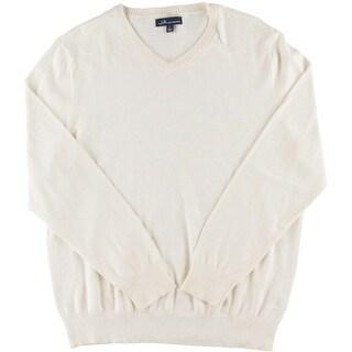 John Ashford Mens V-Neck Ribbed Trim Pullover Sweater