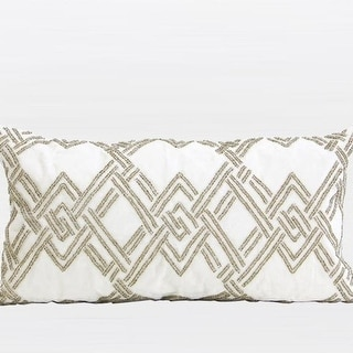 """G Home Collection Luxury Gold Handmade Textured Check Beaded Pillow 12""""X22"""""""