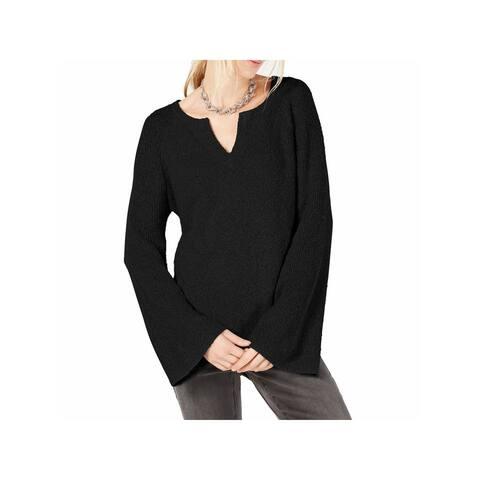INC Womens Black Cotton Long Sleeve Sweater Size S