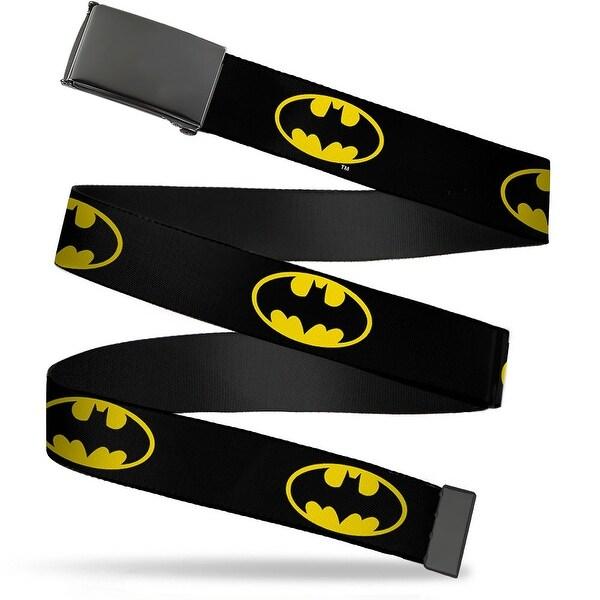 """Blank Black 1.25"""" Buckle Batman Shield Black Yellow Webbing Web Belt 1.25"""" Wide - M"""