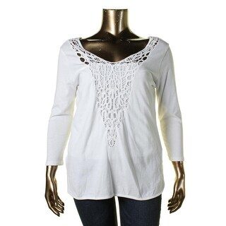 Lauren Ralph Lauren Womens Tunic Top Crochet Front 3/4 Sleeves
