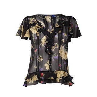Polo Ralph Lauren Women's Printed Ruffled & Pintucked Silk Blouse - florals