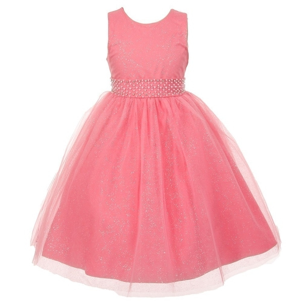 4ac0a24d3a738 Shop The Rain Kids Little Girls Coral Sparkly Tulle Pearls Occasion Dress  2-6 - Free Shipping On Orders Over $45 - Overstock - 18170206