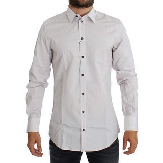 Dolce & Gabbana White Red GOLD Slim Fit Dress Shirt - 38