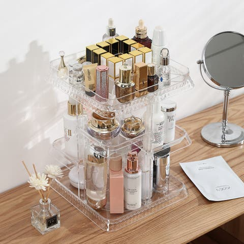 7 Layers 360 Degree Rotation Makeup Organizer Large Capacity Makeup Storage