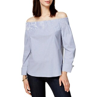 Tommy Hilfiger Womens Pullover Top Striped Off-The-Shoulder - s