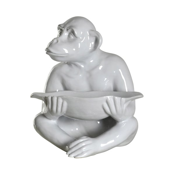 Harp and Finial HFA51087 Chimp Ceramic Animal Statue - White
