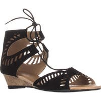 ESPRIT Carol Lace Up Wedge Sandals, Black - 8.5 us