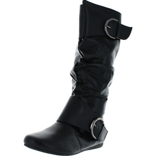 Forever Link Women's Klein-80 Round Toe Slouchy Bank Boot With Buckle Accent - Black - 7 b(m) us