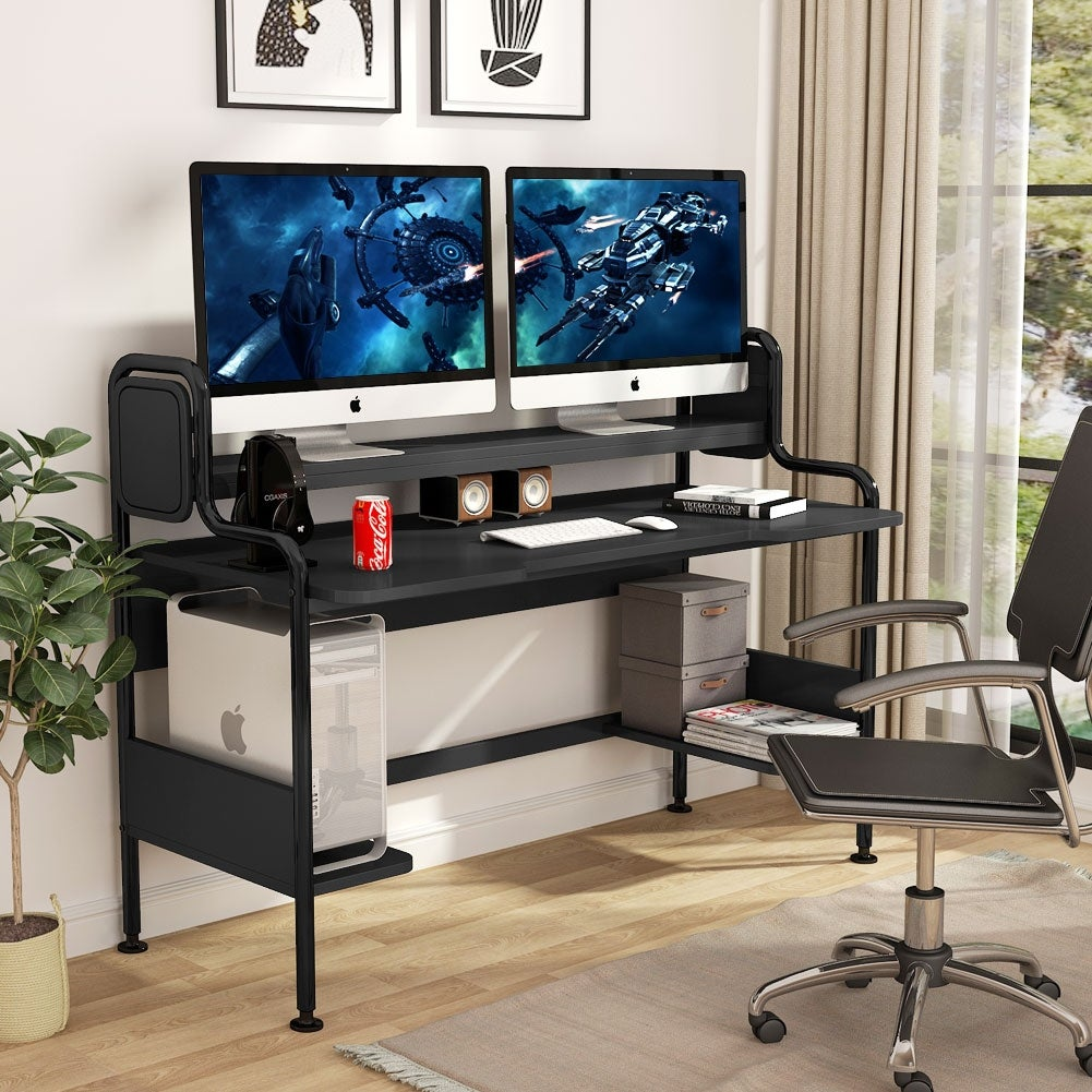 44 Inch Computer Desk with Hutch Large Gaming Desk with Shelves