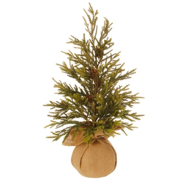 "18.5"" Glitter Pine Artificial Christmas Tree with Pine Cones and Burlap Base - Unlit"