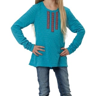 Roper Western Shirt Girls L/S Jersey T Turquoise 03-009-0513-6046 BU