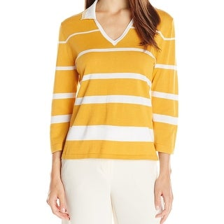 Anne Klein NEW Yellow White Women's Size XL Collared Striped Sweater