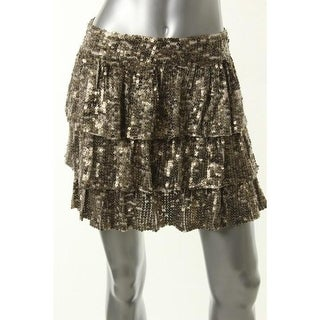 Alice + Olivia Womens Sillk Sequined A-Line Skirt - 6