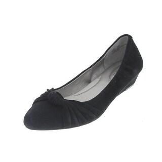 Me Too Womens Haven Suede Knot-Front Wedge Heels - 6.5 medium (b,m)
