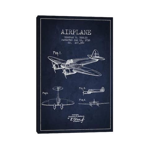 "iCanvas ""Plane Navy Blue Patent Blueprint"" by Aged Pixel Canvas Print"