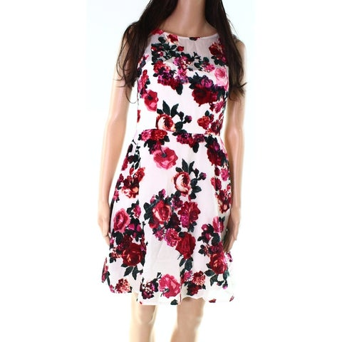 Betsey Johnson Red Ivory Womens Size 2 Floral Mesh Sheath Dress