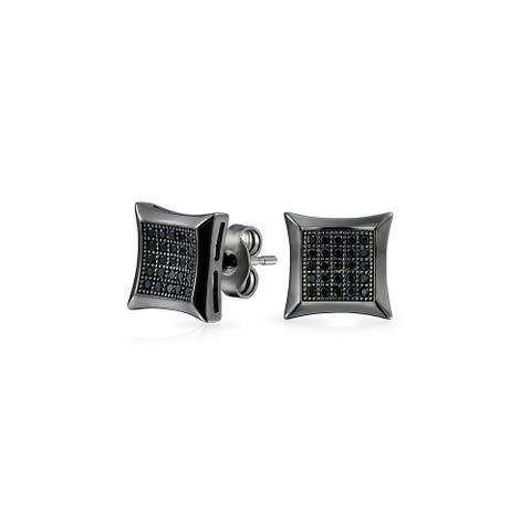 Black Square Shaped Cubic Zirconia Micro Pave CZ Kite Stud Earrings For Men Black Plated 925 Sterling Silver 7MM