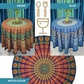 "Handmade Sanganer Peacock Mandala 72"" Round Cotton Tablecloth Gorgeous Blue Green Red - Thumbnail 0"