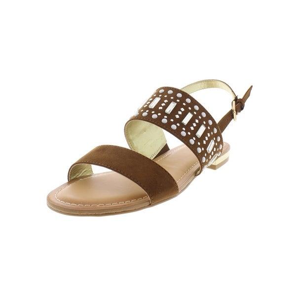Carlos by Carlos Santana Womens Verity Flat Sandals Faux Suede Embellished