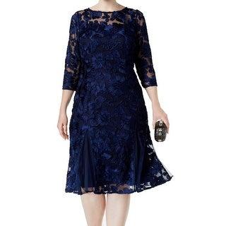 Alex Evenings Navy Womens Plus Floral Sheath Dress
