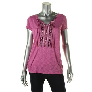 Sanctuary Womens Embroidered Keyhole Tunic Top