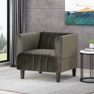 Link to Weymouth Contemporary Channel Stitch Velvet Club Chair by Christopher Knight Home Similar Items in Accent Chairs