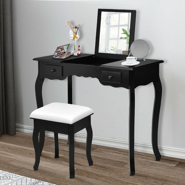 Gymax Mirrored Vanity Make-up Dressring Table Stool Desk Black. Opens flyout.