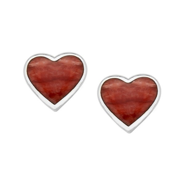 Kabana Red Spiney Oyster Shell Heart Stud Earrings in Sterling Silver - White