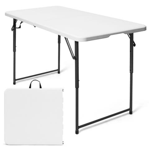 Costway 4ft Camping and Utility Folding Table Height Adjustable Indoor